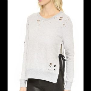 Pam Gela Side Tie Destroyed Sweatshirt